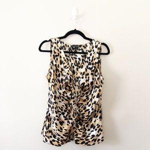 St. John Leopard Print Silk Ruffle Blouse Shell